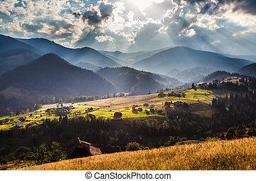 Beautiful light beam in morning, mountain