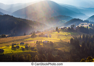 Beautiful light beam in morning, mountain