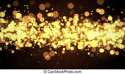 Beautiful light Shining golden particles abstract loop Background with shiny red Golden particles.