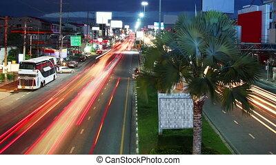 beautiful light streaks of night traffic timelapse