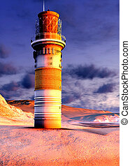 lighthouse by the ocean at sunset