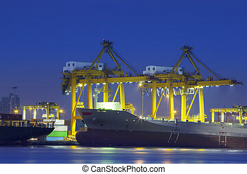 beautiful lighting of container ship in port use for import, export and freight logistic business industry