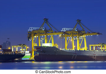 beautiful lighting of container ship in port  use for import,exp