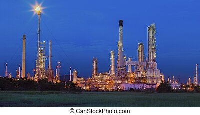 beautiful lighting of oil refinery in petrochemical industry estate site thailand