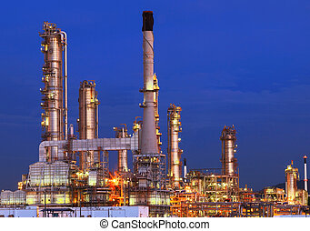 beautiful lighting of oil refinery plant in petrochemical heavy