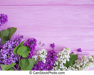 beautiful lilac flower on wooden background frame