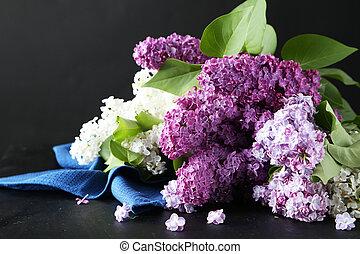 Beautiful lilac on black background