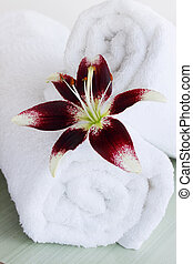 white fluffy towels