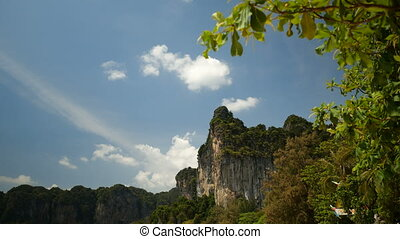 Beautiful limestone over blue summer sky background - bottom...