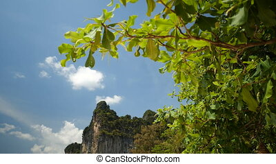 Beautiful limestone over blue summer sky background - bottom...