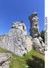 Limestone rock in  Polish Jurassic Highland ( Krakow-Czestochowa Upland), Poland. It is geographic macroregion located in southern Poland, one of the most attractive tourist regions in the country