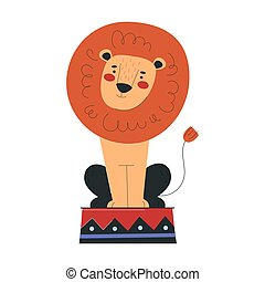 Beautiful lion is working in circus. Concept of circus characters doing tricks and stunts for children, adults. Positive lion doing tricks. Flat cartoon vector illustration