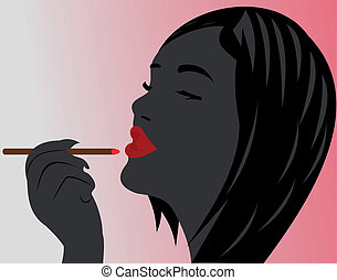Beautiful lips. The girl is beautiful. Bright lipstick. The...