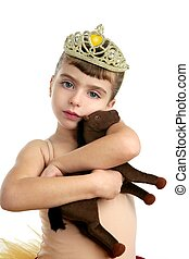 Beautiful little ballerina girl hug toy horse