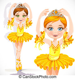 Beautiful little ballerina girl in yellow dress and tiara isolated on a white background
