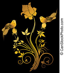 Beautiful little birds on flowers