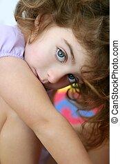 Beautiful little blue eyes girl looking camera