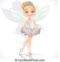 Beautiful little fairy girl isolated on a white background