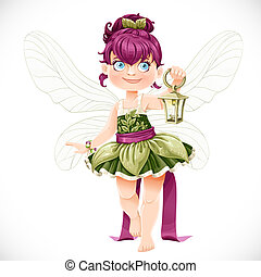 Beautiful little fairy with a flashlight isolated on a white background