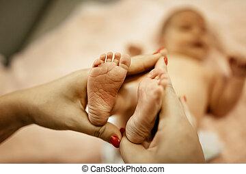 Beautiful little feet of a newborn