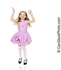 Beautiful little girl 5-6 years. - Happy little blond girl,...