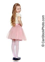Beautiful little girl 5-6 years. - The little girl is...