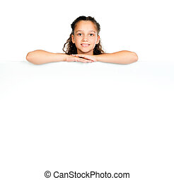 little girl against a white blank