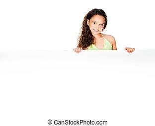 little girl against a white blank