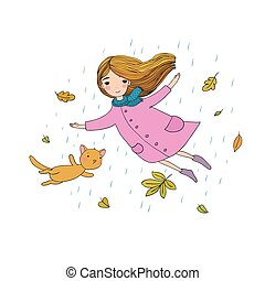 Beautiful little girl and a cute cartoon cat flying with autumn leaves.