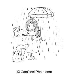 beautiful little girl and a cute cartoon pug under an umbrella.