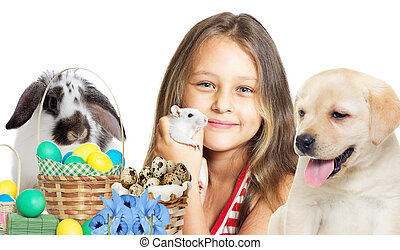beautiful little girl and pets