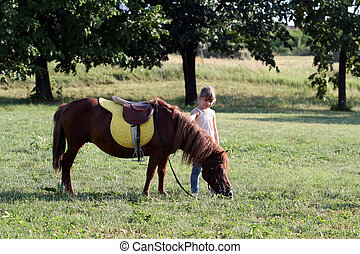 beautiful little girl and pony horse on field