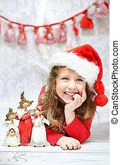 Beautiful little girl enjoying Christmas