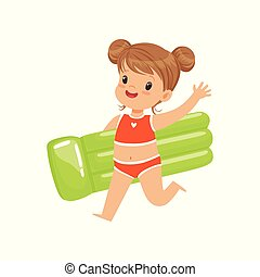 Beautiful little girl in a red swimsuit running with green inflatable mattress, kid playing at the beach, happy infants outdoor activity on summer vacations vector Illustration