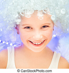 little girl in a white wig