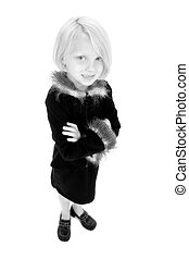 Beautiful Little Girl In Black And White