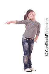 Beautiful little girl in blue jeans