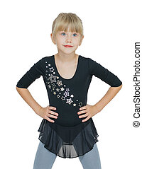 beautiful little girl in costume for the dance