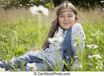Beautiful little girl in hippie style