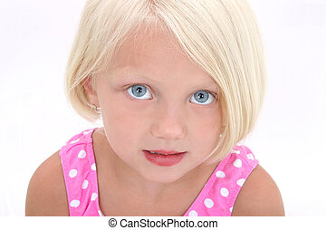 Beautiful Little Girl In Pink Swim Suit Close Up