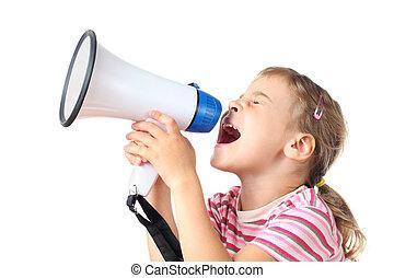 beautiful little girl in pink T-shirt screams in megaphone ...