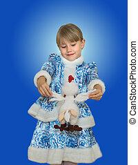 beautiful little girl in suit Snow Maiden.