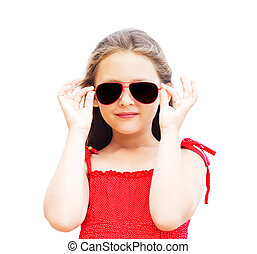 beautiful little girl in sunglasses on a white background isolat