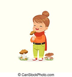 Beautiful little girl in warm clothing collecting mushrooms, cute kid enjoying fall, autumn kids activity vector Illustration
