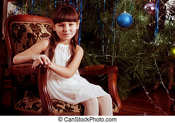 Beautiful little girl in white