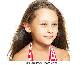 beautiful little girl on white background isolated