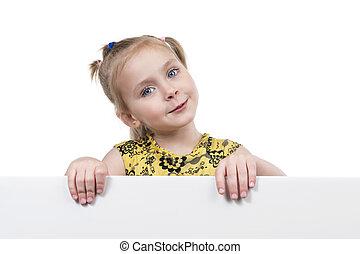 Beautiful little girl peeking - Portrait of a girl looking...