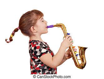 beautiful little girl play music on saxophone
