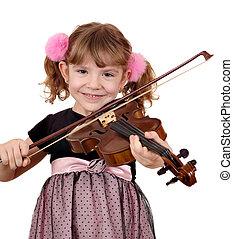 beautiful little girl play music on violin