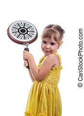 Beautiful little girl with a frying pan isolated on white